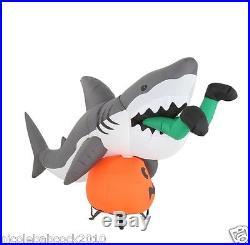 107 Gemmy Halloween Animated Monster Shark Eating Man Inflatable W Pumpkin Yard