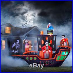 11.5 FT ANIMATED HALLOWEEN PIRATE SHIP Airblown Lighted Yard Inflatable