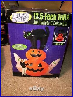 12.5 Ft Airblown Inflatable Gemmy Cat Sitting On Pumpkin Rare Htf Bnib