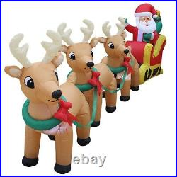 12 Foot Long Christmas Inflatable Santa Claus Reindeer Sleigh Yard Decoration