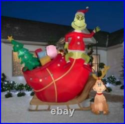 12 Ft COLOSSAL GRINCH AND MAX ON SLEIGH Airblown Lighted Yard Inflatable SLED