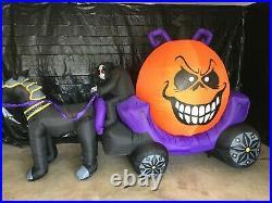12ft Gemmy Airblown Inflatable Prototype Halloween Reaper Pumpkin Carriage#74406