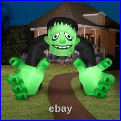 13 Ft Gemmy Halloween Green Monster Archway Airblown Inflatable Led Lighted