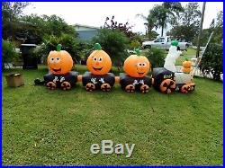 14 1/2 Ft Long Ghost And Pumpkin Halloween Train Works Great Yard Display