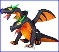 14 ft Wide Halloween Double Head Dragon Fire & Ice Airblown Inflatable Gemmy