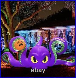 15' Ft L Halloween Octopus Monster & Pumpkin Airblown Inflatable Led Yard Decor