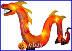 16 Ft Inflatable Fog Effect Orange Serpent Air-Blown Dragon Halloween Inflatable
