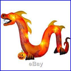 16ft Light up Inflatable Fog Effect Orange Dragon Snake Halloween New In Box