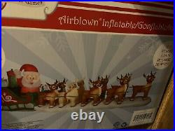17 Ft. HUGE! Lighted Christmas Inflatable Santa in Sleigh with8 Reindeer & Rudolph