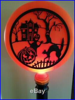 1996 Vintage Union Products Halloween Scene Silhouette Blow Mold Light Lamp Post
