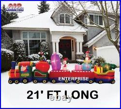 21' Colosal Christmas Train with Santa Air Blown Inflatable Lighted Yard Decor