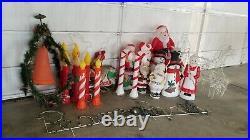 28 Vtg Christmas Blowmold & Wire Yard Lights Santa Snowman Municipal Bell
