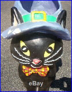 2' Cat Candy Holder Halloween Witch Hat Paper Mache Black Orange Blow Mold Decor