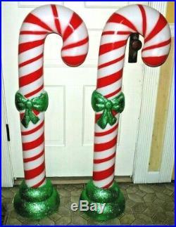 2 Large Candy Cane 43 Blow Mold Blowmold Yard Decor Christmas Lights Glitter