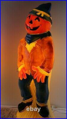 2 Rare Vintage Empire 34 Scarecrow Pumpkin Head Halloween Blow Mold Set Yard