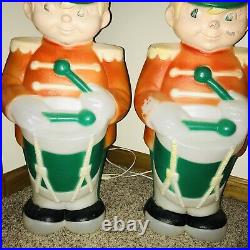2 Vintage Drummer Boy Soldier Lighted Blow Mold Christmas