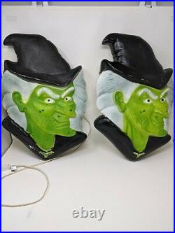 2 Vintage Halloween Don Featherstone Union Blow Mold Lights Green Witch Faces