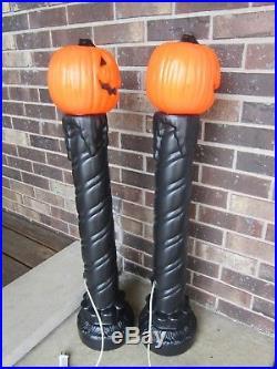 2 Vtg Halloween Blow Mold Jack O Lantern Pumpkin Head Candle Lamp Post Light Up