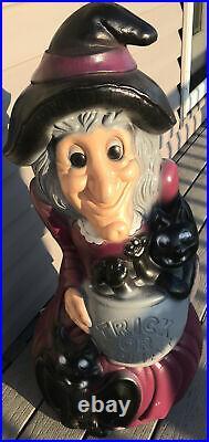 34 Witch With Cauldron Cat Bat Halloween Blow Mold Yard Decor