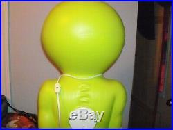 36 Space Alien Green Blow Mold Light Up General Foam Plastics USA Halloween