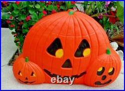 3 in 1 JACK O LANTERN Blow Mold Halloween Pumpkin Don Featherstone 30x20 Union