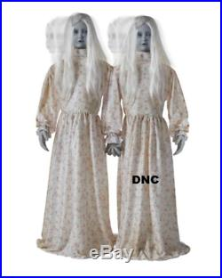 4.5 Ft Double Death Ghost Girls Halloween Haunted House Prop == Free Step Pad