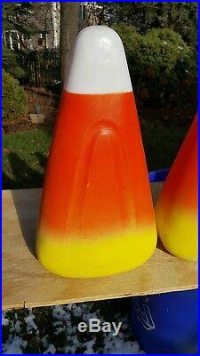 (4) Vintage Union Products 1995 Fall Harvest Thanksgiving Candy Corn Blow Molds