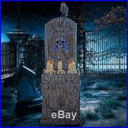 5 FT AGED CEMETERY LED TOMBSTONE Lights & Sounds YARD PROP Tolling Bells