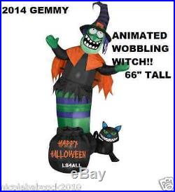 66 HALLOWEEN Witch with catAirblown Inflatable Animated Wobbling Outdoor Decor
