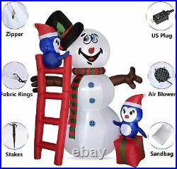 6 FT Christmas Inflatable Blow Up Snowman & Penguins with LED Lights Yard Decor