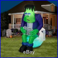 6 FT MONSTER ON TOILET W FARTING NOISE Lighted Yard Airblown Inflatable SENSOR
