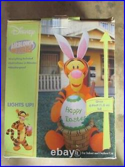 6 Ft Lighted Airblown Disney Tigger Rare Inflatable Box Gemmy Happy Easter Gemmy