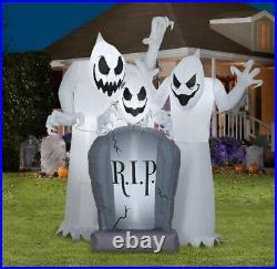 6' Gemmy Airblown Inflatable Short Circuit Ghost Trio Tombstone Scene Halloween