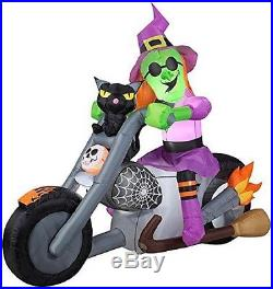 6' Gemmy Halloween Witch On Motorcycle Black Cat Airblown Inflatable Yard Decor