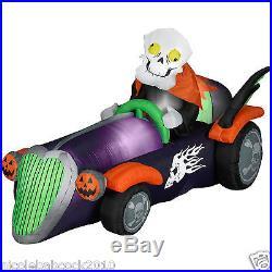 7.5 Ft Gemmy Halloween Skeleton Racer Inflatable Airblown Yard Decor