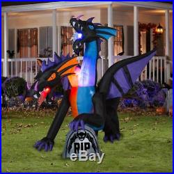 7.8' Projection Fire & Ice 2 Headed Dragon Halloween Airblown Inflatable LED