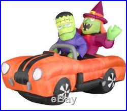 7 FT Airblown Inflatable Witch and Monster in a Orange car with Sound, New