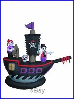 7 Foot Halloween Inflatable Pirate Ship Skeletons Crew Blowup Yard Decoration