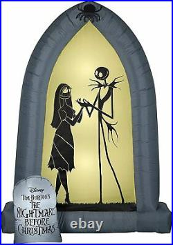 7' Gemmy Airblown Inflatable Halloween Jack Skellington And Sally Silhouette
