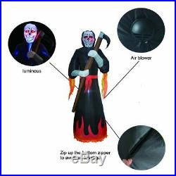8Ft Halloween Lighted Inflatable Grim Reaper Inflatable Outdoor Ghost Yard Party