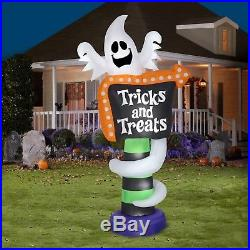 8 FT Inflatable Ghost Trick-or-Treat Sign Halloween Yard Decoration Airblown