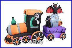 8 Foot Long Halloween Inflatable Reaper Train Tombstone Bat Cat Yard Decoration