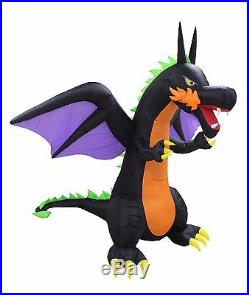 8 Foot Tall Halloween LED Inflatable Fire Wing Dragon Yard Garden Art Decoration