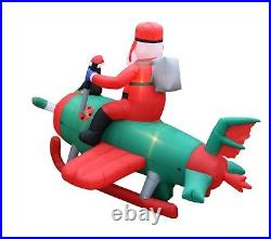 8 Foot Wide Animated Christmas Inflatable Santa Penguin Airplane Yard Decoration