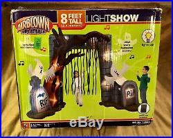 8' Gemmy Halloween Airblown Inflatable Light Show Graveyard Archway withsound Box
