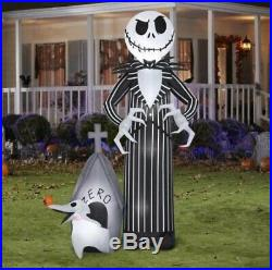 9 FT Giant JACK SKELLINGTON AND ZERO Airblown Lighted Yard Inflatable GEMMY