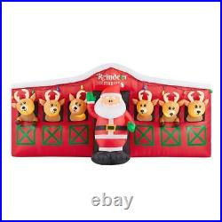 9 FT REINDEER STABLE WITH SANTA Christmas Airblown Lighted Inflatable