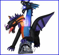 9 FT TWO HEADED DRAGON Airblown Lighted Yard Inflatable FIRE & ICE FLAMING MOUTH