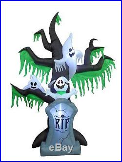 9 Foot Tall Halloween Inflatable Grave Scene Skeletons Ghosts on Dead Tree with