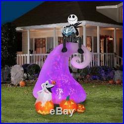 9 Ft Animated JACK SKELLINGTON & ZERO Airblown Inflatable SWIRLING LIGHT